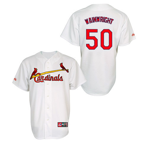 Adam Wainwright #50 MLB Jersey-St Louis Cardinals Men's Authentic Home Jersey by Majestic Athletic Baseball Jersey